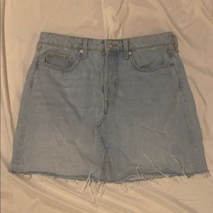 H&M Light Denim Mini Skirt with Frayed Hem